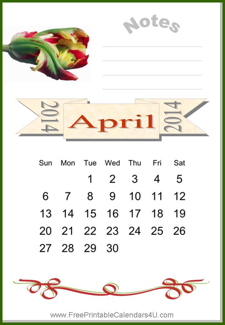 Free printable calendar april 2014
