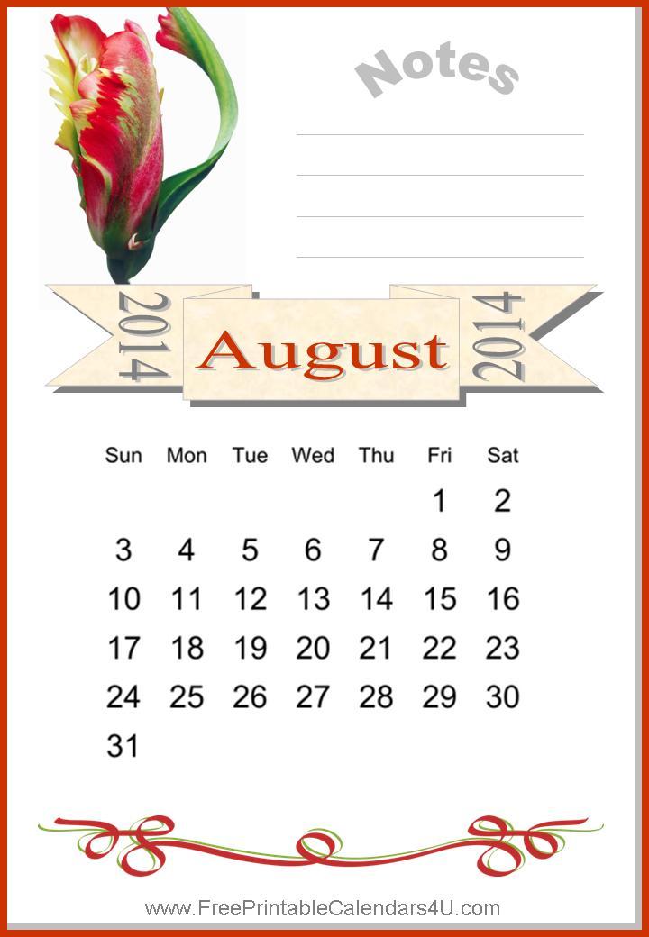Free printable calendar august 2014