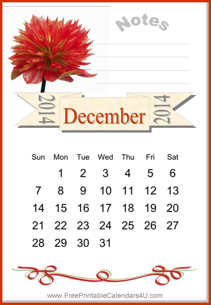 Free printable calendar december 2014