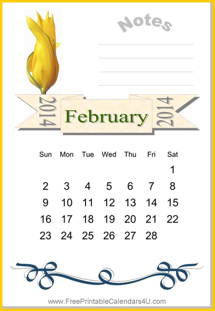 Free printable calendar February
