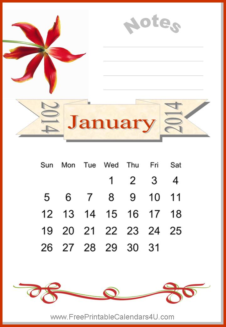 Free printable calendar January 2014