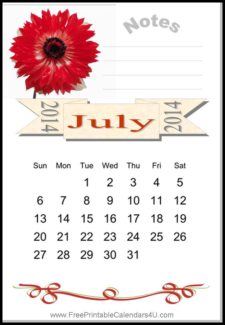 Free printable calendar july 2014