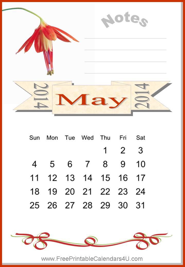 Free printable calendar may 2014