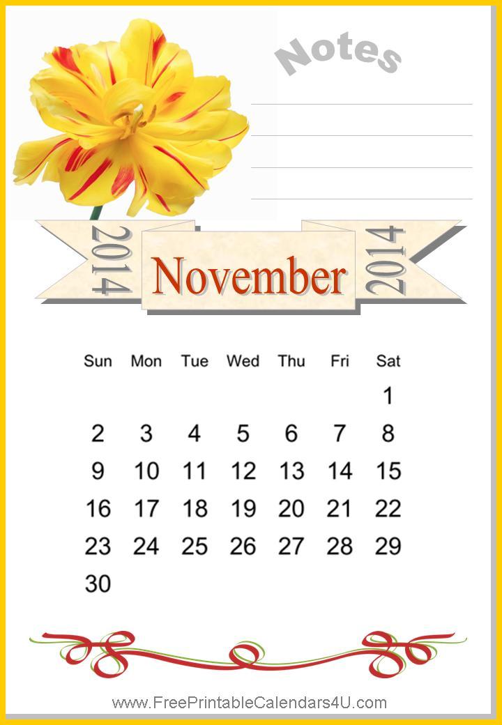 Free printable calendar november 2014
