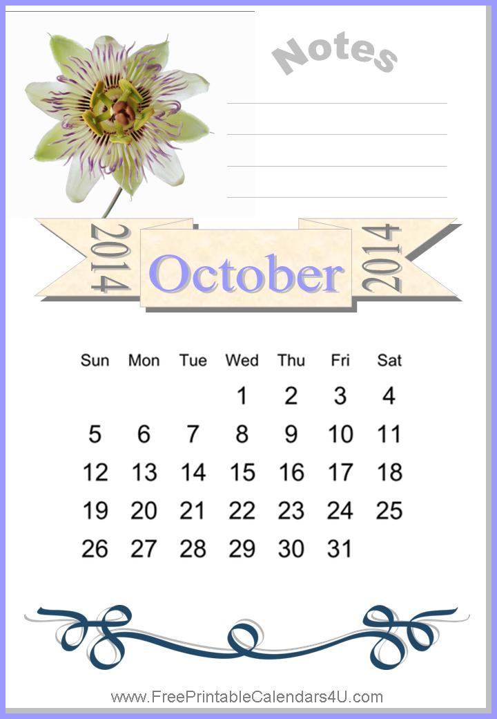 Free printable calendar october 2014