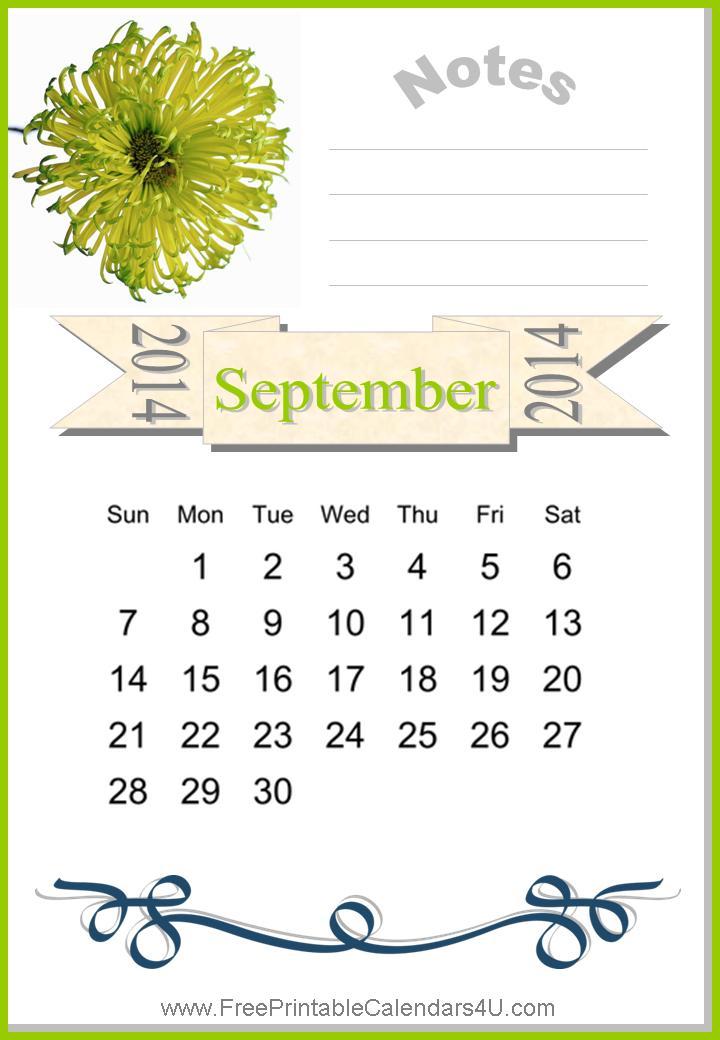 Free printable calendar september 2014