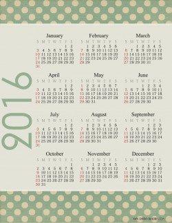 2016 calendar at a glance