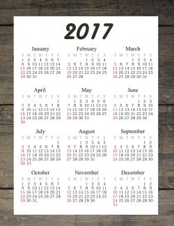 2017 printable calendar with a wood background