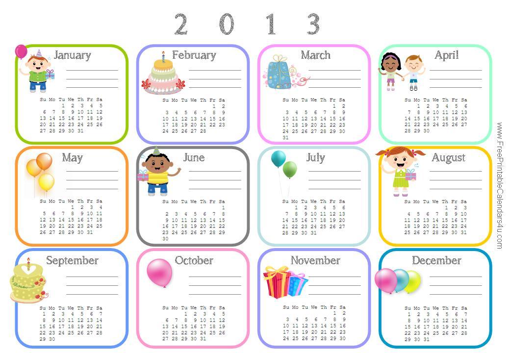 2013 Birthday Calendar - Creative Calendars
