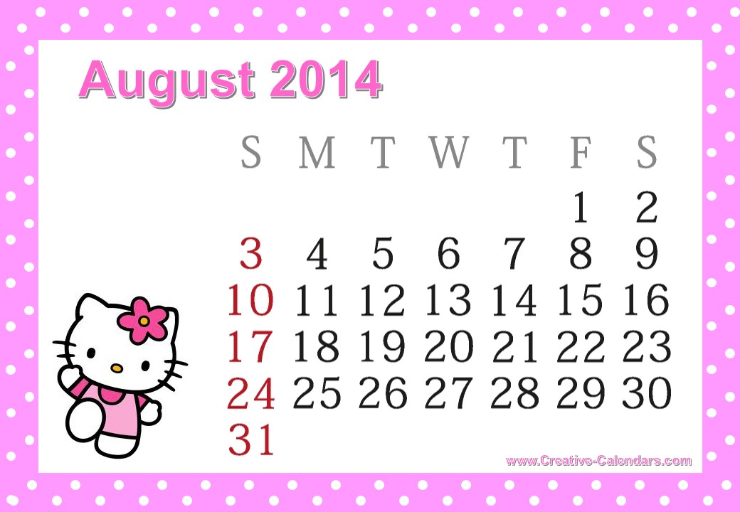 Hello Kitty September Free printable hello kitty