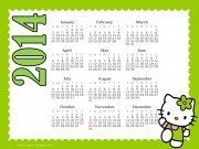 printable calendar with a picture of Hello Kitty and a green border