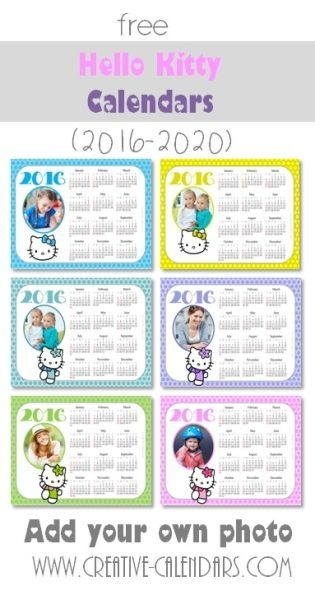 photo calendar 2016 with Hello Kitty