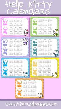 Free Printable Hello Kitty Calendars