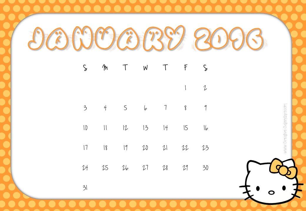 ... calendars with hello kitty 2016 monthly calendars january 2016
