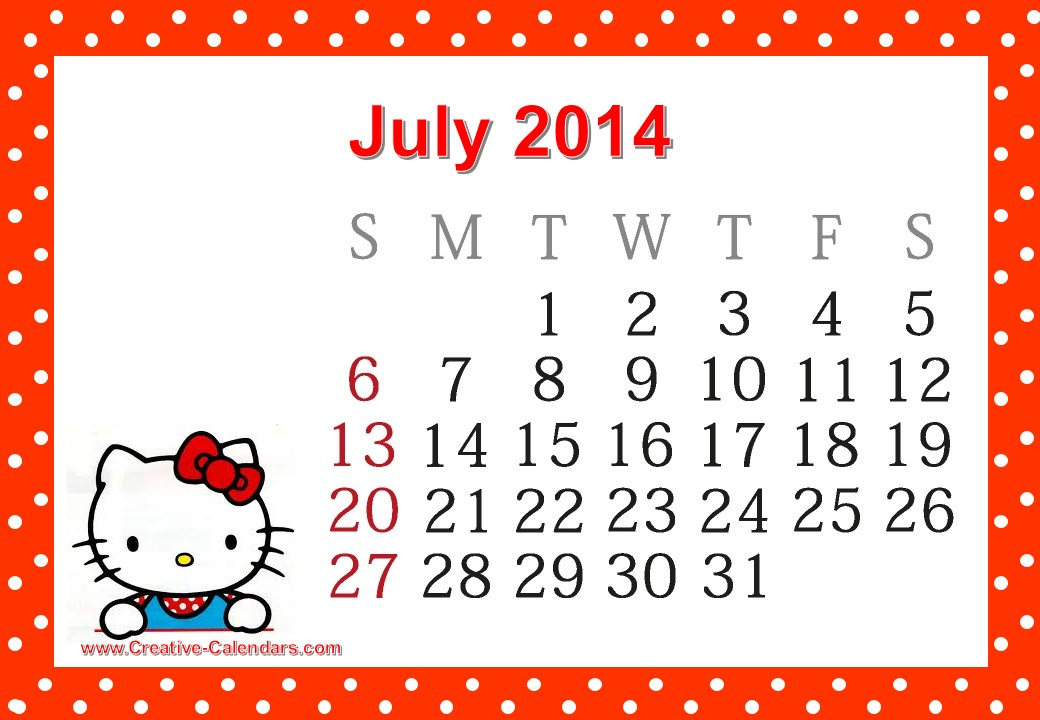 hello kitty printable calendar template .