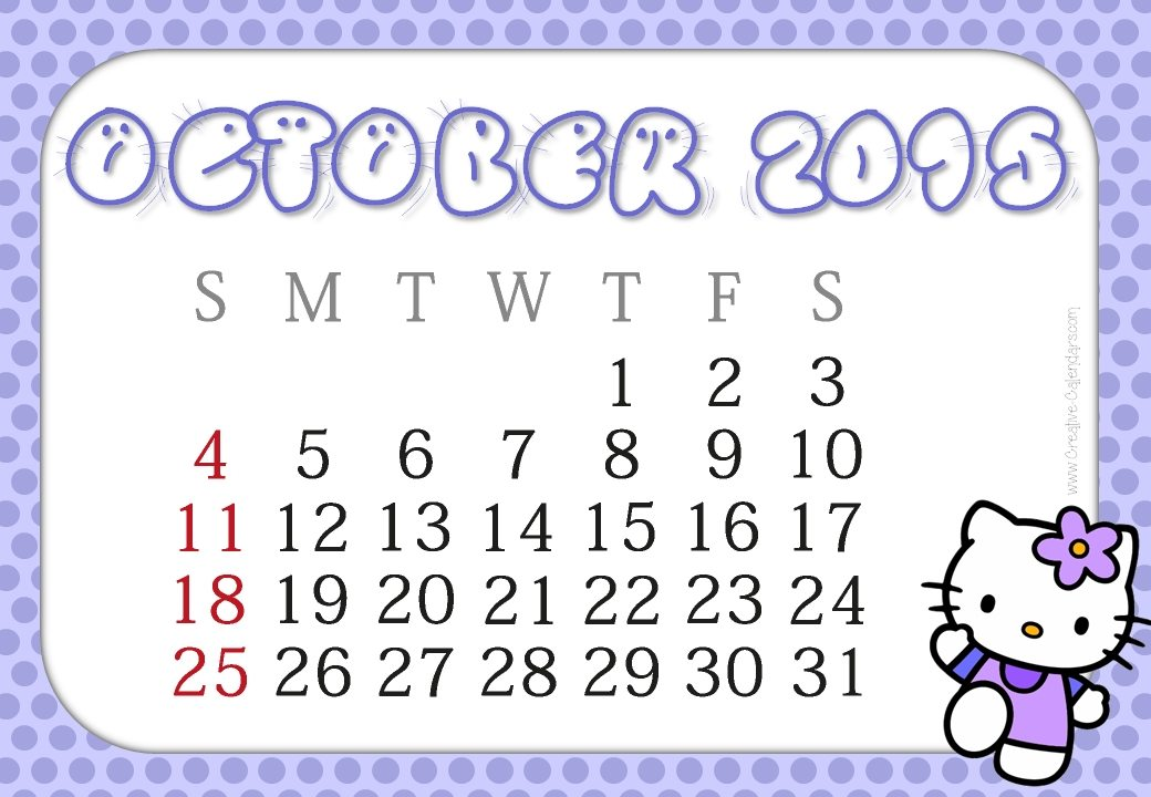... Kitty Monthly Calendar 2016 Printable Free | Calendar Template 2016