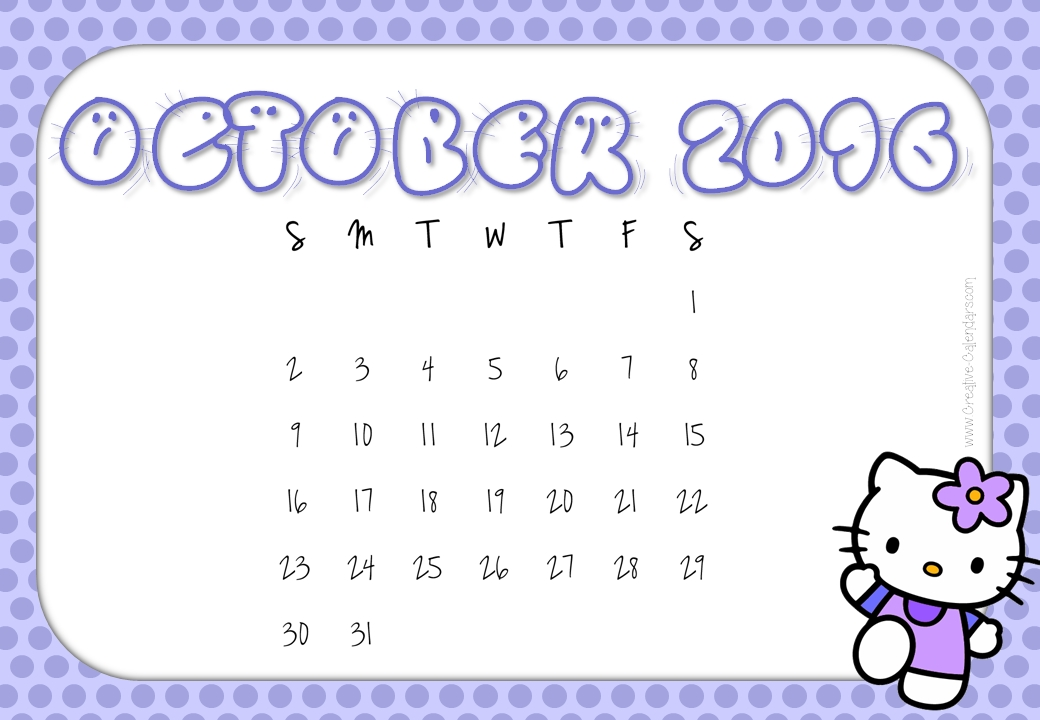 Free Printable Hello Kitty Calendars
