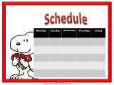 Snoopy Weekly Calendar