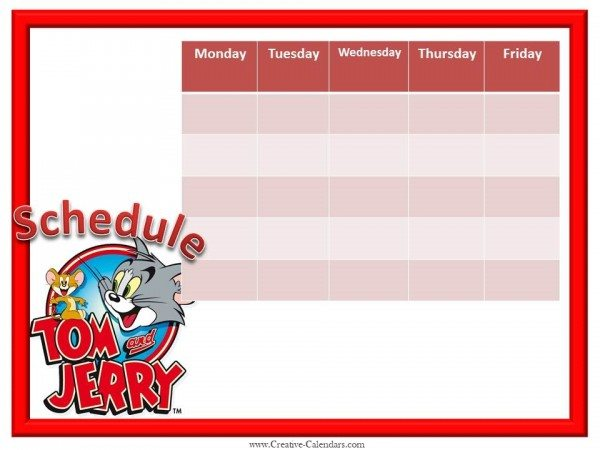 Tom and Jerry Weekly Calendar
