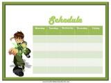 Ben 10 Weekly Calendar