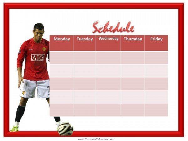 Soccer Weekly Calendar