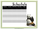 Kung Fu Panda Weekly Calendar