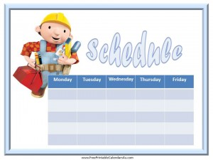 free weekly calendar with a picture of Bob the Builder and a blue border