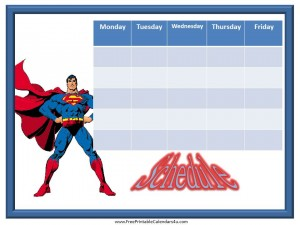 printable weekly schedule with a picture of Superman