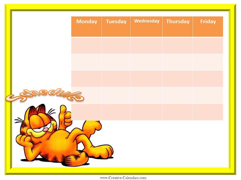 Garfield Weekly planner