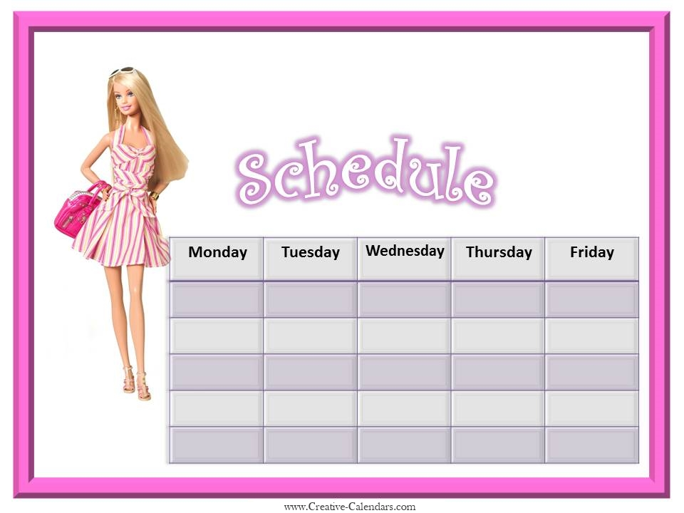 Blank weekly schedule with a picture of Barbie