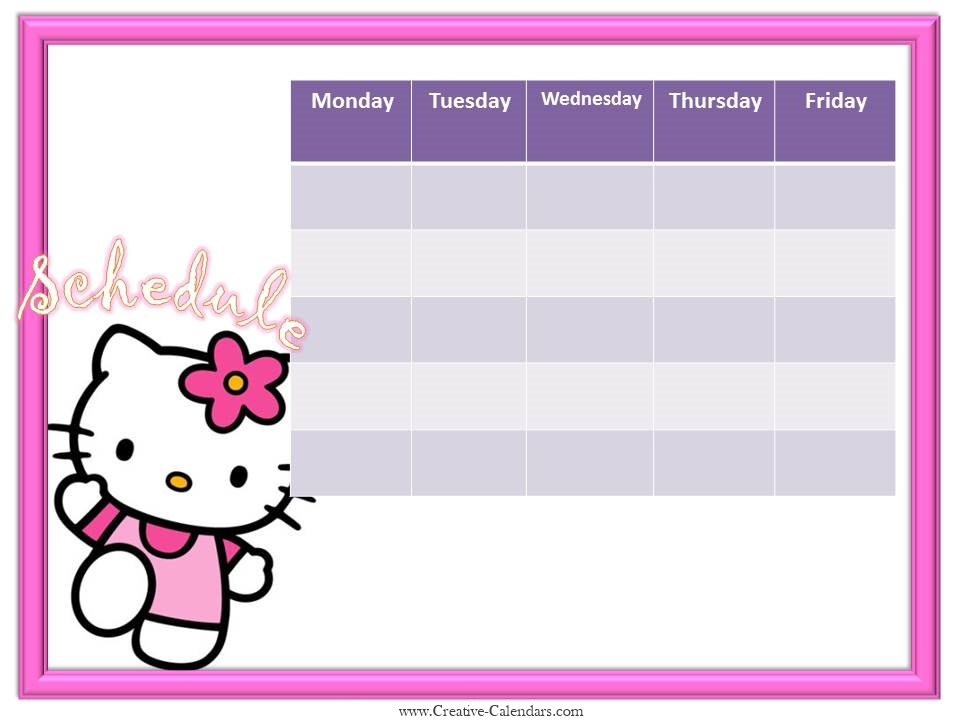 Hello Kitty weekly calendar template