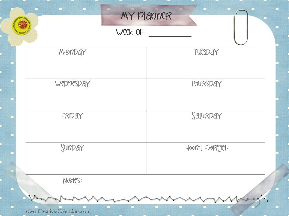 Kids Monthly Calendar : Free printable weekly planner
