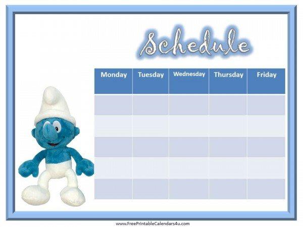 Smurf Weekly Calendar
