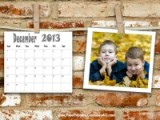 Personalized calendar with a photo inside a polaroid photo against a brick wall background