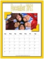 Photo Calendar with a yellow frame and a photo of a group of kids