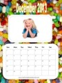 Photo Calendar with a jelly bean background and a photo of a little girl