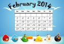 February 2014 calendar with the Angry Birds