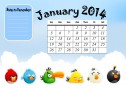 Printable Calendar January 2014 with the Angry Birds and space to keep notes