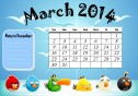 March 2014 printable Angry Birds calendar with a box to write dates that you want to remember