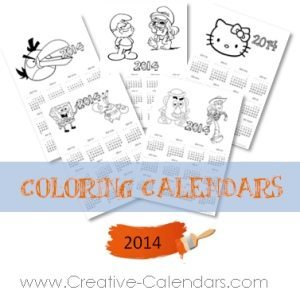 2014 calendars with pictures to color