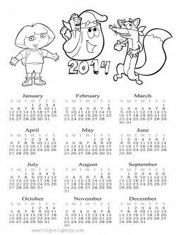 Dora Coloring Page with 2014 Calendar