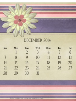 free calendar with a pastel background (pinks and purples) and a big paper embellishments