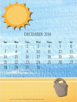 Printable 2014 calendar with a beach theme and blue watercolor bakcground