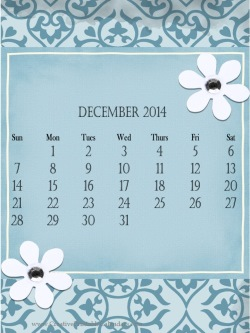 blue floral calendar with two white flowers