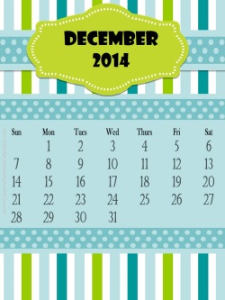 2014 calendar with a blue and green background, stripes and polka dots