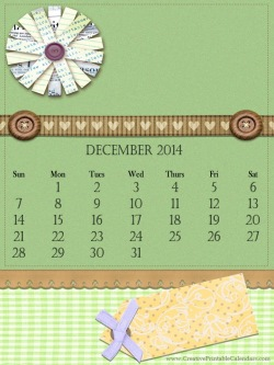 printable calendar with a green background, a brown ribbon an a paper tag to write notes