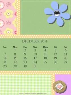 2014 calendar with a scrapbook style background