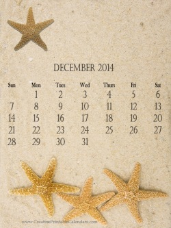 calendar template with a sandy beachy theme