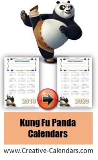 Kung Fu Panda calendar templates