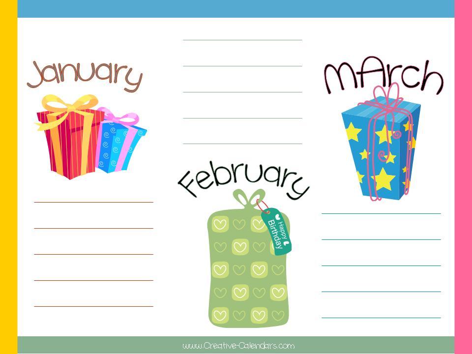 Blank Birthday Calendar | Calendar Template 2016